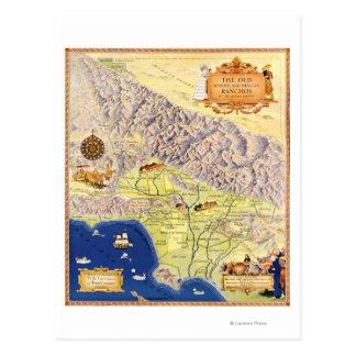 Ranchos espanhóis e mexicanos do mapa de Los Cartao Postal