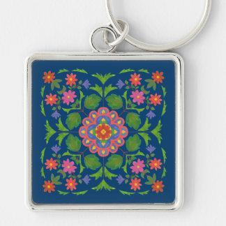 Chaveiro Rangoli floral chique no chaveiro quadrado azul