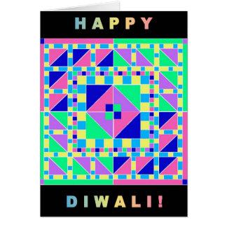 Rangoli Pastel com o cartão preto de Diwali da