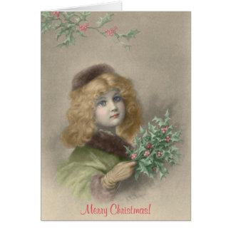 Rapariga com Natal do azevinho Cartão Comemorativo