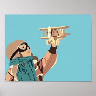 Rapariga com o poster plano de madeira