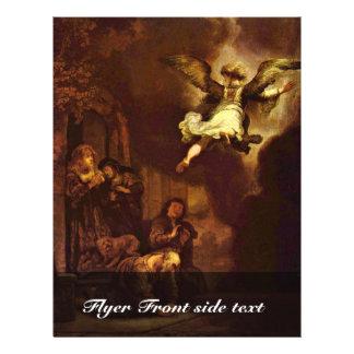 Raphael do anjo que sae da família de Tobit. Panfletos Coloridos