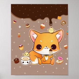 Raposa bonito do chibi com gelado do kawaii pôster