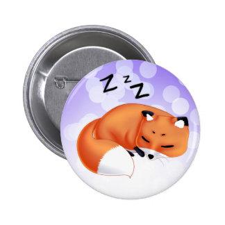 Raposa bonito dos desenhos animados do sono de Kaw Bóton Redondo 5.08cm
