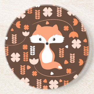 Raposa bonito, flores e folhas na laranja porta-copos de arenito