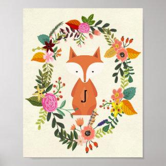 raposa do monograma do poster do berçário