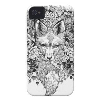 Raposa preto e branco na floresta capas para iPhone 4 Case-Mate