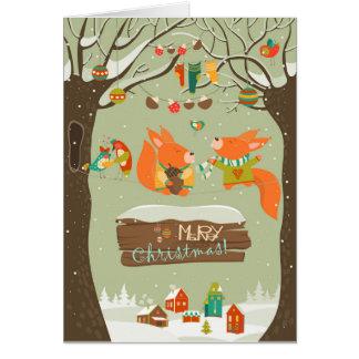 raposas alegres do cartão da ilustração do