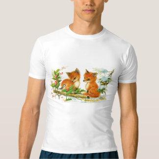Raposas bonitos do natal vintage camiseta