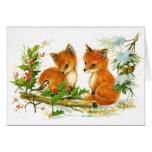 Raposas bonitos do natal vintage cartão