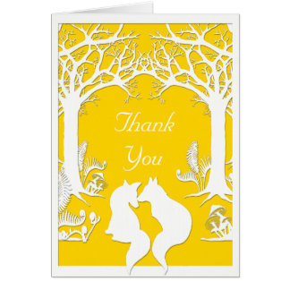 Raposas de papel no amarelo do Freesia Cartão De Nota
