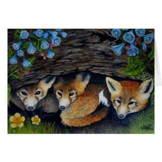 Raposas e cartão azul dos sinos