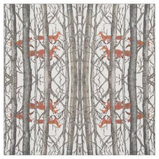 Raposas na arte cinzenta do tecido do desenhista