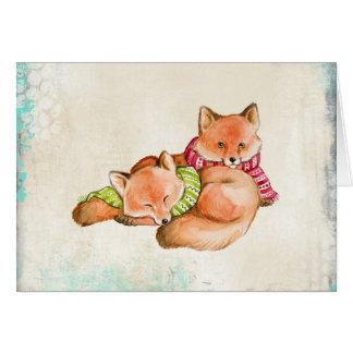 Raposas no cartão de Natal dos Scarves