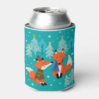 Raposas vermelhas bonitos, Natal, costume Porta-lata