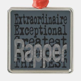 Rapper Extraordinaire Ornamento Quadrado Cor Prata