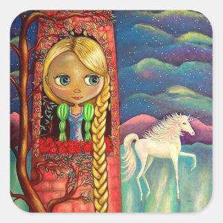 Rapunzel na torre cor-de-rosa com amigo do adesivo quadrado