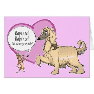 Rapunzel o galgo afegão cartão comemorativo