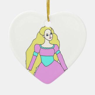 Rapunzel Ornamento De Cerâmica Coração