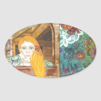 Rapunzel, sonhando adesivo oval