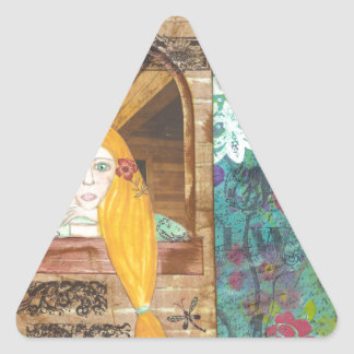 Rapunzel, sonhando adesivo triangular