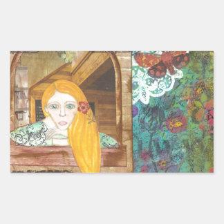 Rapunzel, sonhando adesivos em formato retangulares