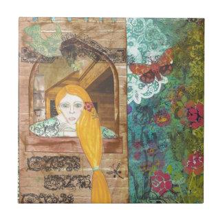 Rapunzel, sonhando azulejos de cerâmica