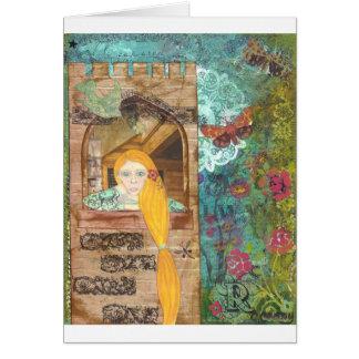 Rapunzel, sonhando cartão comemorativo