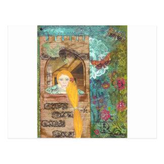 Rapunzel, sonhando cartão postal