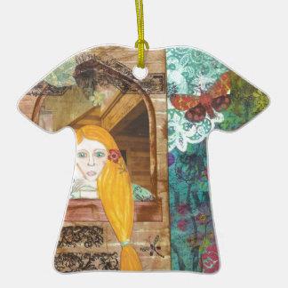 Rapunzel, sonhando ornamento de cerâmica camiseta