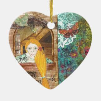 Rapunzel, sonhando ornamento de cerâmica coração