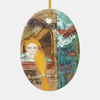 Rapunzel, sonhando ornamento de cerâmica oval