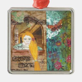 Rapunzel, sonhando ornamento quadrado cor prata