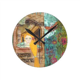 Rapunzel, sonhando relógios para paredes