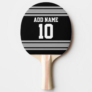 Raquete De Ping Pong A prata preta ostenta o jérsei com seus nome &