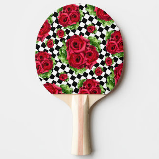 Raquete De Ping Pong Amor floral do buquê das rosas vermelhas