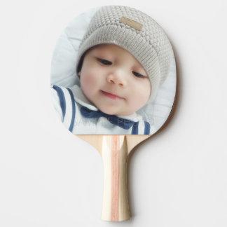 Raquete De Ping Pong Anúncio do nascimento com a foto recém-nascida