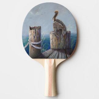 Raquete De Ping Pong Arte acrílica do oceano do pelicano de Brown da