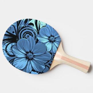 Raquete De Ping Pong arte azul do redemoinho das flores do vetor