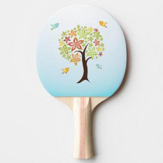 Raquete De Ping Pong Árvore e pássaros