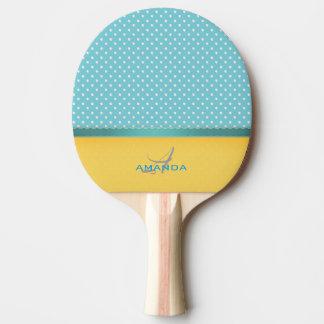 Raquete De Ping-pong Azul de oceano, praia ensolarada, monograma de