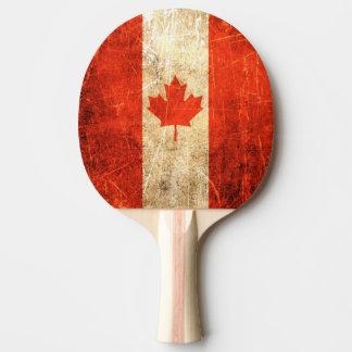 Raquete De Ping Pong Bandeira riscada e vestida do canadense do vintage