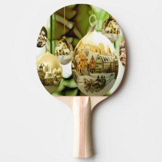 Raquete De Ping-pong bolas da árvore de Natal com neve fl da varinha de