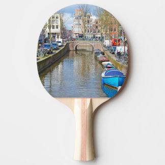 Raquete De Ping-pong Canal de Amsterdão com barcos