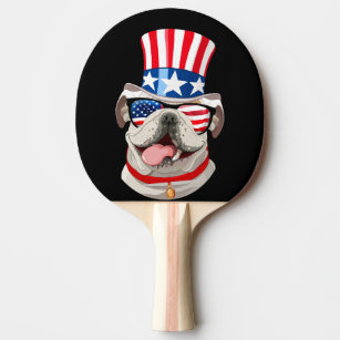 Raquete De Ping Pong Chapéu inglês 4o da bandeira americana do buldogue 92700f1d42