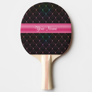 Raquete De Ping Pong Colorido preto cor-de-rosa acolchoado chique