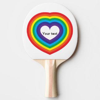 Raquete De Ping-pong Coração do arco-íris