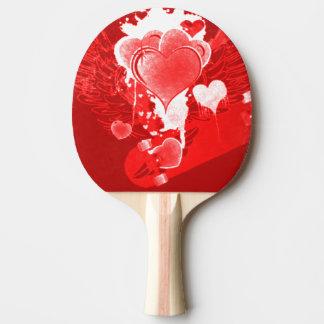 Raquete De Ping Pong Corações vermelhos com asas
