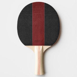 Raquete De Ping-pong Couro preto & vermelho costurado do vintage