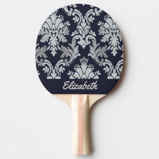 Raquete De Ping Pong Damasco roxo e de prata pá personalizada